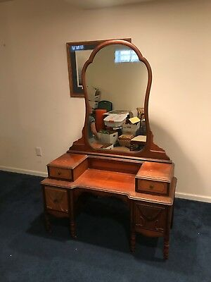Princess Antique Chic Bedroom Vtg Girls Vanity Dresser Mirror Makeup Desk