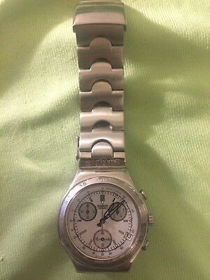 Swatch Irony Chrono YCS457 Gangleader watch with stainless band and date window