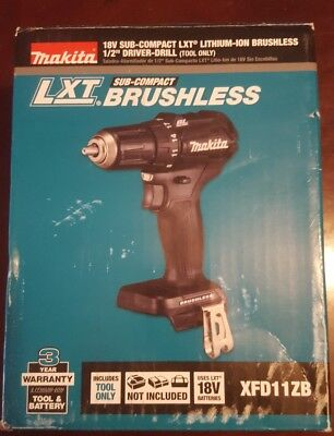 """New Makita Xfd11Zb 18V Lxt Lithium Ion Brushless Sub-Compact 1/2"""" Driver Drill"""