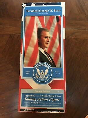 President George W. Bush Talking Action Figure Toy Presidenfs With Pamplet