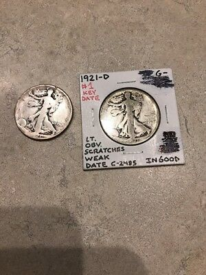 1921P-1921D Walking Liberty Half Dollar Lot Of 2(A107)