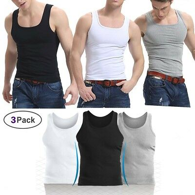 4bf4e02b13cd NEW LOT 3-6 Packs Mens 100%Cotton Tank Top A-Shirt Wife Beater ...