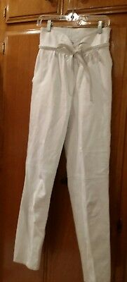 Vintage 70's 80's Beged - Or White Leather High Waist Pants Size 40