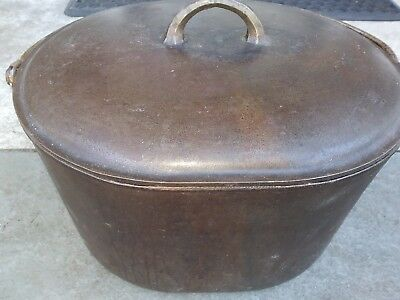 Htf Rare Antique  Cast Iron Oval Roaster w Cover 1300 1301 maybe Wagner Griswold