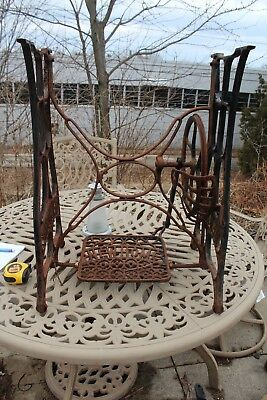 """ANTIQUE SEWING MACHINE CAST IRON TREADLE BASE new home 28 1/4"""" high 21"""" wide 16"""