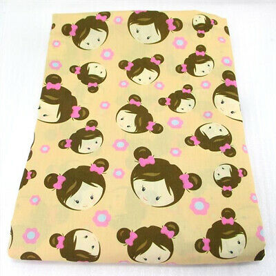 Fabric Pink & Peach Floral Little Girl Print Polycotton Blend 50X145Cm/20X58In