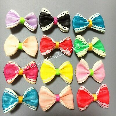 100PCS=50pair/LOT Puppy Dog Hair Bows clips Assorted colorful Style Pet hairpins