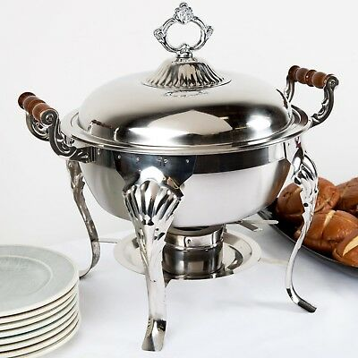 2-6 Classic 5 Qt Round Half Size Stainless Steel Buffet Catering Chafer Dish Set