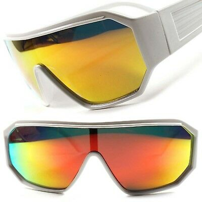 92df1fac61 Retro Futuristic Sci-Fi Party Costume Red Mirrored Lens White Wrap Sun  Glasses