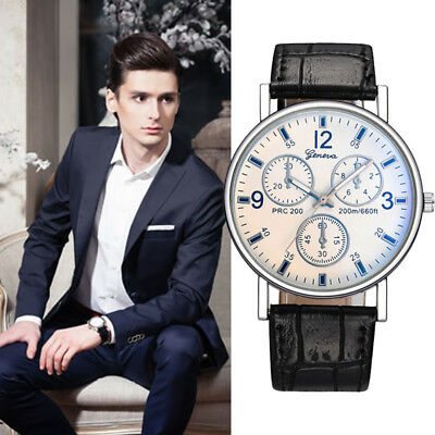 Luxury Mens Fashion Business Stainless Steel Leather Band Strap Wrist Watch Sale