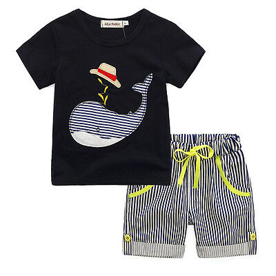 Summer Toddler Kid Baby Boys T-shirt Tops+Beach Shorts Pants Outfit Set Clothes