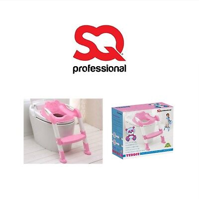 Baby Toilet Ladder Steps Toddler Potty Training Seat Non-Slip Solid Grip - PINK