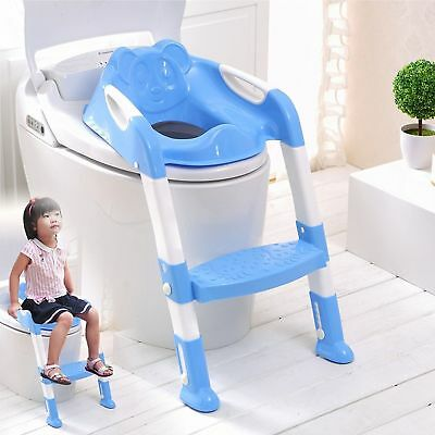 Baby Toilet Ladder Steps Toddler Potty Training Seat Non-Slip Solid Grip Blue