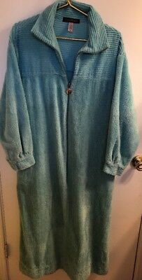 Stan Herman Long Zip Front Turquoise Chenille Robe  Size Medium