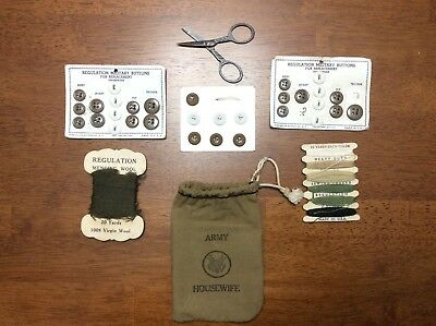 WWII US ARMY HOUSEWIFE Sewing Kit with Bag Thread Buttons Scissors