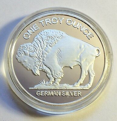 """Awesome 1 OZ German Silver """"USA Buffalo/Indian head"""" Proof Coin a"""