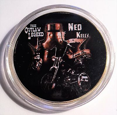 """""""NED KELLY"""" Colour Printed 999 24k Gold plated coin, Outlaw Legend (09)"""