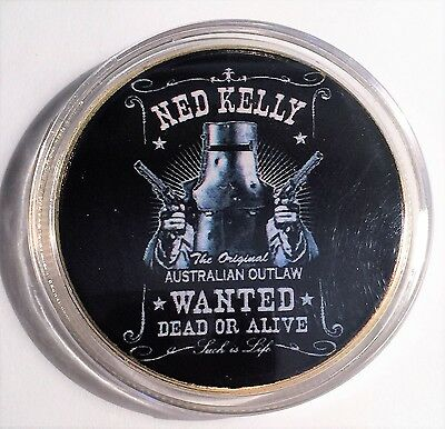 """""""NED KELLY"""" Colour Printed 999 24k Gold plated coin, Wanted Dead Or Alive (16)"""