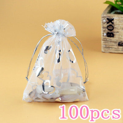 100PCS  Drawstring Gift Bags with Heart Organza Wedding Gift Bags 9x12cm White