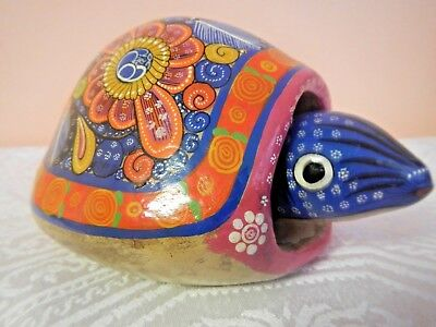 Mexican hand painted pottery turtle