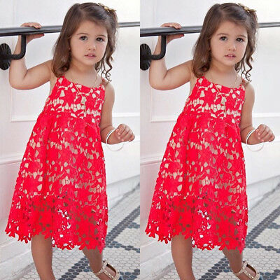 Toddler Kid Baby Girl Summer Lace Crochet Dress Princess Party Braces Skirts New