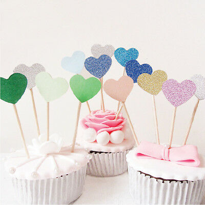 30Pcs Heart Cupcake Toppers Birthday Party Baby Shower Wedding Cake Decor Tool