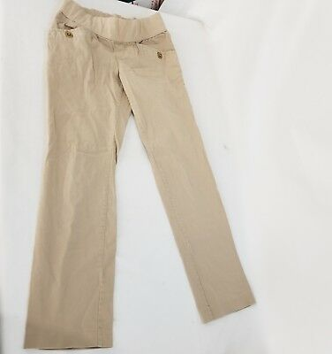 MATERNITY Size Medium Pants Beige Tan KHAKIS OLD NAVY LOW RISE ~ UNDER THE BELLY