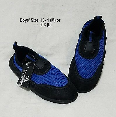 NEW Boys/Youth Slip On Beach Pool Mesh Water Shoes M (13-1), L (2-3) Blue Black