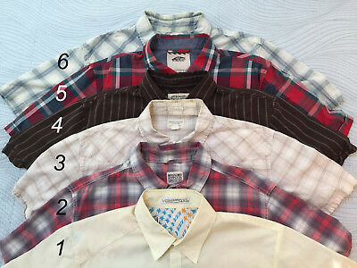 Lot 6 Mens Surf Skate SHIRTS Short Slv Button Up VOLCOM MOSSIMO VANS plaid solid