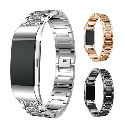 Fashion Crystal Stainless Steel Watch Band Wrist Strap For Fitbit charge 2 uk
