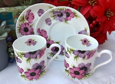 ROY KIRKHAM c1990s COFFEE CUP & SAUCER SET x 2 - FLORAL PINK PURPLE ANEMONE