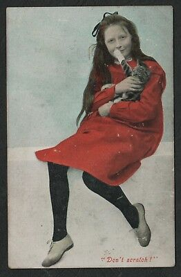 e1510)      EARLY 1900 POSTCARD -  YOUNG GIRL WITH KITTEN - ' DON'T SCRATCH ! '
