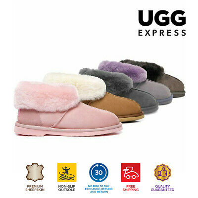 UGG Women Ankle Scuffs Slippers Mallow, Australian Sheepskin Lining&Insole