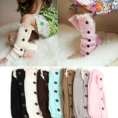 LK_ EG_ Baby Girl Fall Winter Long Knit Lace Button Leg Warmer Kids Boot Socks
