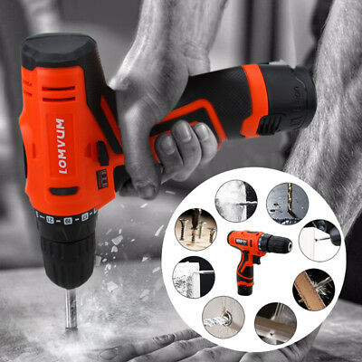 Electric Hammer Drill Driver Hand 1 Speed LED Light 12V Li-Ion Cordless Charger