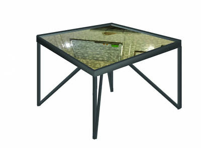 Industrial Urban Chic Bespoke Antique Mirror Glass Top Square Metal Coffee Table