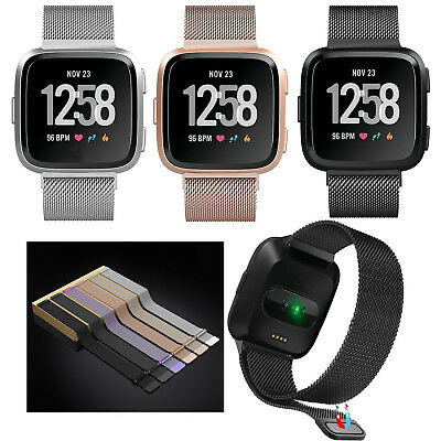 Magnetic Loop Stainless Steel Uhrenarmband Band für Fitbit Versa Smart Watch S/L