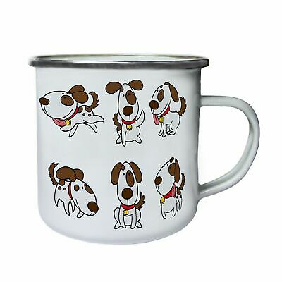 Happy Dog smile Funny Retro,Tin, Enamel 10oz Mug p412e