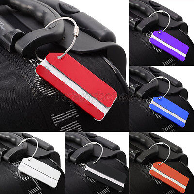 4 Lot Set Aluminium Metal Travel Cruise Suitcase Luggage Bag ID Tags Name Holder