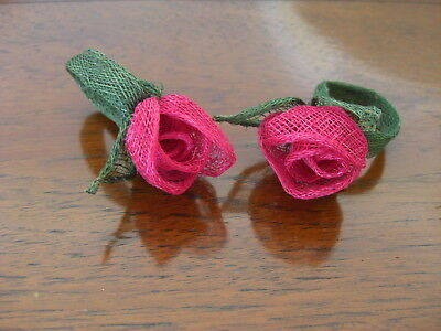 Handcrafted Woven Straw Rose Napkin Ring Holder Valentine Wedding Party Decor