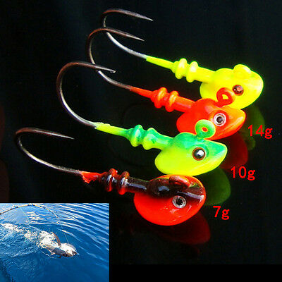 Lead Round Jig Head Fishing Lures Bait Hook Fish Tackle5g/10g/14gRandom Color'*