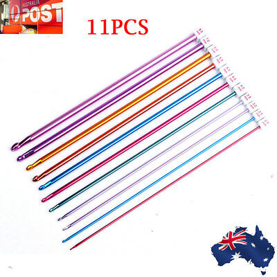 "11X 10.6"" 2-8mm Colourful Aluminum AFGHAN TUNISIAN Crochet Hook Knit Needles OZ"