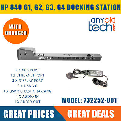 HP EliteBook 840 G1 G2 G3 G4 UltraSlim 2013 Port Replicator Docking Station, PSU