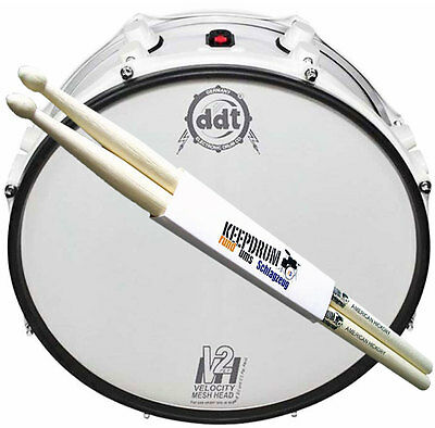 "DDT Velocity 22"" 2PLY Mesh Head Weiß Tom Fell + Keepdrum Drumsticks 1 Paar!"