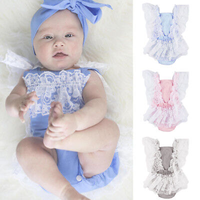 Lk_ Toddler Infant Newborn Baby Girl Lace Ruffled Romper Bodysuit One-Piece Al
