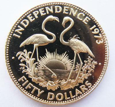 Bahama's 1973 Independence $50 Gold Coin 50% Gold (12ct) 15.64 gram Proof