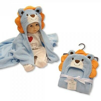 Very Soft Cute Towel Hooded Output Swim For Baby Blue Lion