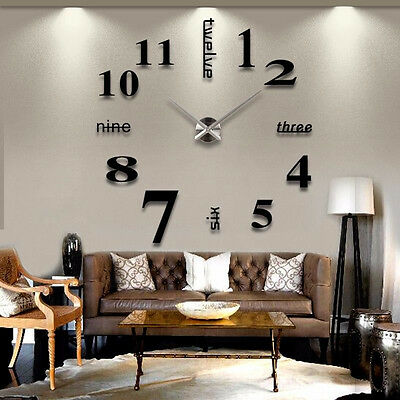 Analog 3D Mirror Surface Large Number Wall Clock Sticker Modern Home UK,