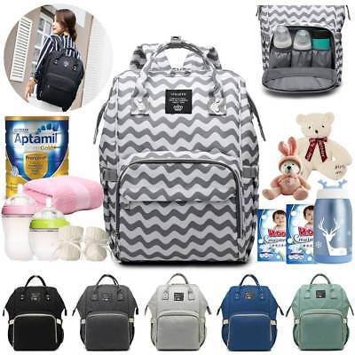 LAND Waterproof Large Mom Nappy Diaper Bag Baby Travel Changing Nursing Backpack