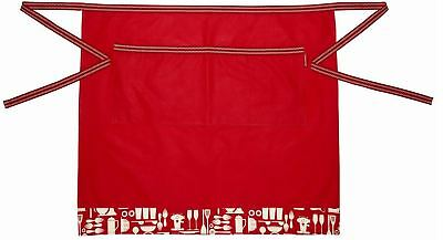 KitchenCraft Metro Kitchen Half Apron in Red Patterned